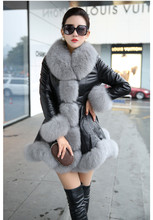 New Style Trendy Women Slim  Winter Warm Faux Fur Leather Coat Solid Pattern Fur Collar Ladies Elegant Coat free shipping