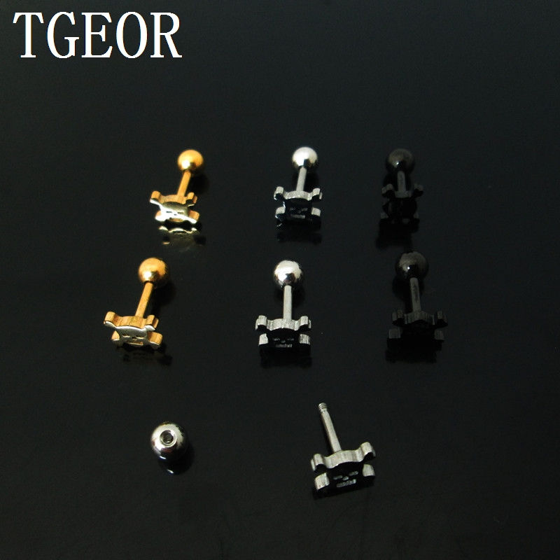 Free shipping 1 Pair 1.2*6*4/6mm skull laser cut surgical Steel TITANIUM PLATED COLORS tragus piercing earring
