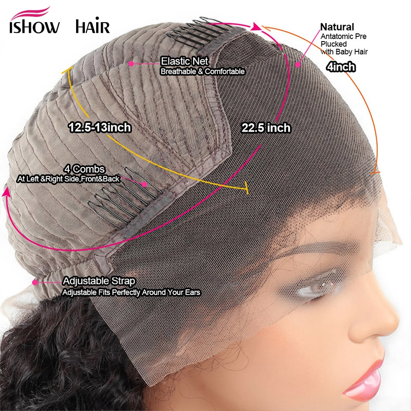 Image 5 - Short Bob Lace Front Human Hair Wigs 13x4 Brazilian Curly Human Hair Wig For Black Women Full  Ishow Remy 150 Density Lace Wig-in Human Hair Lace Wigs from Hair Extensions & Wigs