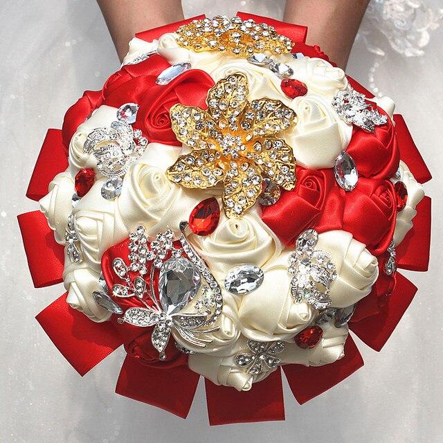 Exquisite Red Ivory Ribbon Rose Flowers Wedding Bouquet Golden Gem ...