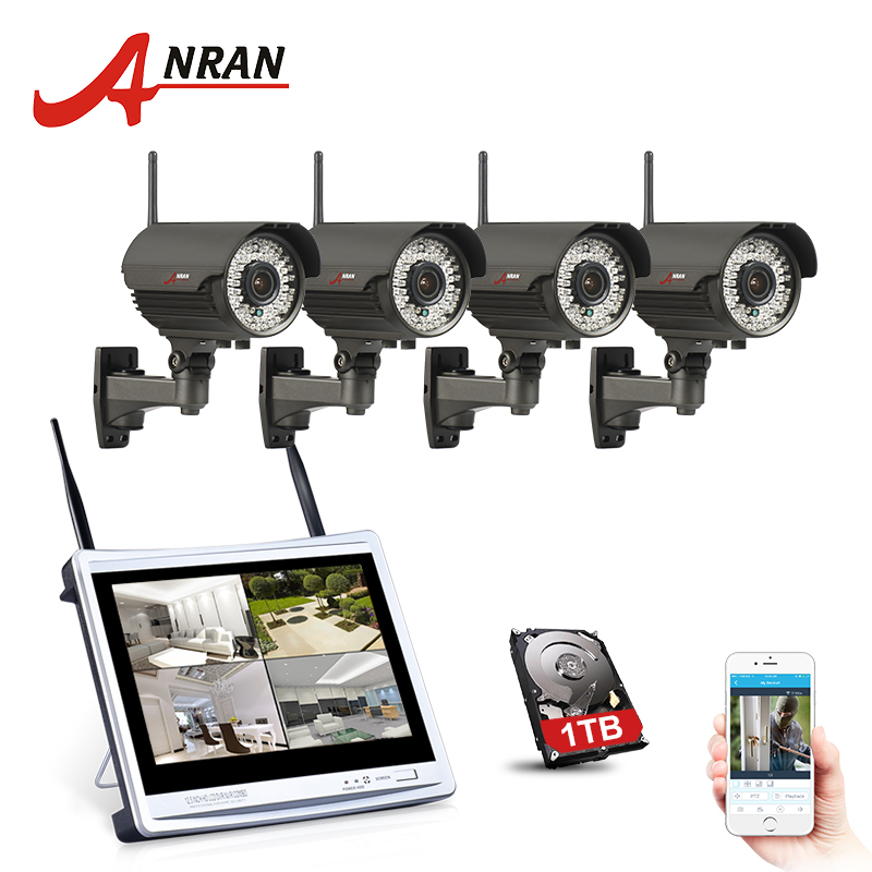 ANRAN 4CH 12 LCD NVR Wireless Security Camera System 960P HD Varifocal 2 8mm 12mm Outdoor
