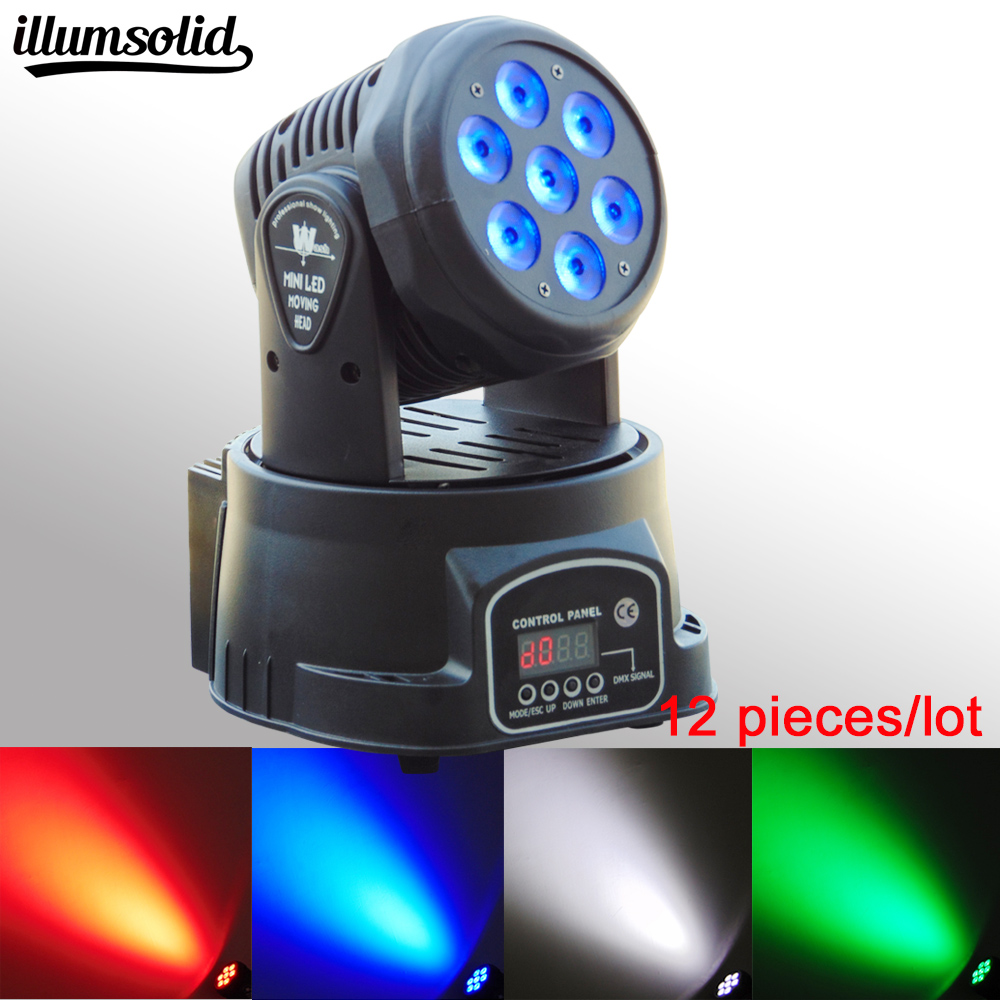 12 pieces/lot High Quality LED Mini Moving Head Wash Light 7X12W RGBW Moving Heads DMX DJ Nightclub Party Concert Stage Lighting 4pcs lot professional american dj led lighting led moving head light wash mini 7x12w rgbw dmx 7 12 channels