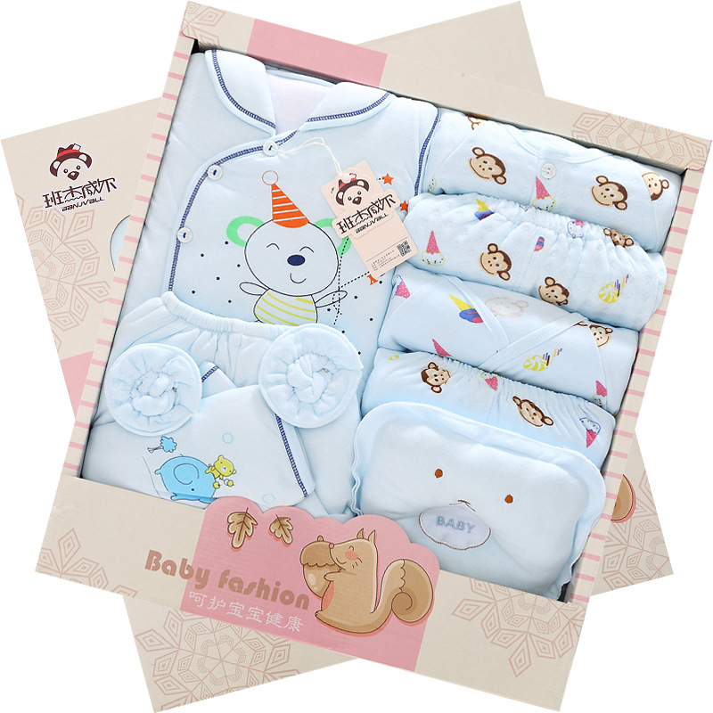 ФОТО 14Pcs/Lot 2017 Newborn Baby Girl Clothes Autumn Little Squirrel Gift Box Set Thick Cotton  Character Baby Boy Clothes