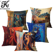 Islamic Painting Art Arab Woman Carrying Plate Muslim Home Decoration Sofa Throw Pillow Case Mediterranean Style Cushion Cover