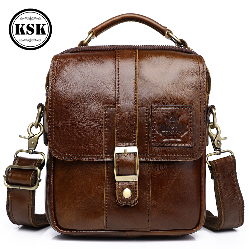 Men's Genuine Leather Bag Messenger Bag Luxury Handbags Cross Body Bags Male Shoulder Handbag 2019 Fashion Flap Pocket KSK