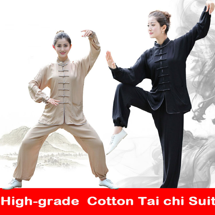 Free shipping new sale Chinese Kung Fu Suit Women Tai Chi Clothing 100% Cotton Art Uniform men taiji wushu kung fu taiji clothes new pure linen retro men s wing chun kung fu long robe long trench ip man robes windbreaker traditional chinese dust coat