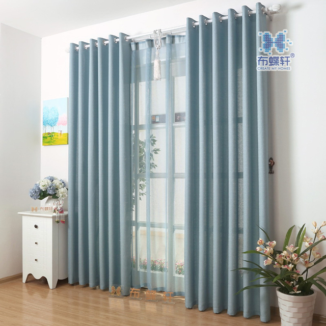 Moderne Einfache Stil Einfarbige Günstige Vorhang Für Wohnzimmer Hotel Küche  Zimmer Kundengebundene Größe Blau Und Weiß