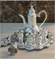 8PCS/set classic zinc alloy metal wine set drinksware distiller wine decanter pot flask flagon aerator cup tray silver JJ034