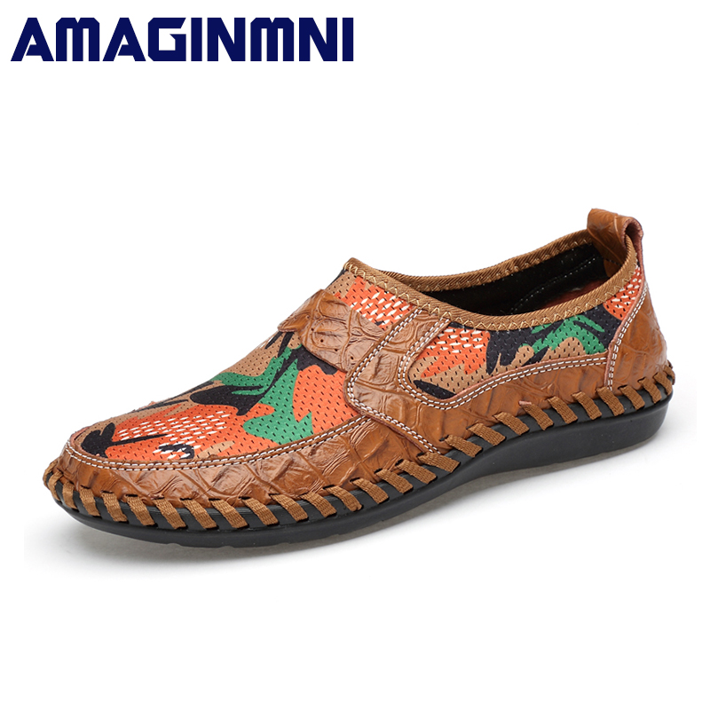 AMAGINMNI Summer Breathable Mesh Shoes Mens Casual Shoes Genuine Leather Slip On Brand Fashion Summer Shoes Man Soft Comfortable