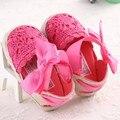 Encantadora Infantil Del Niño de La Princesa Primeros Caminante Newborn Baby Girls Kid Prewalker Suave Suela Del Zapato Arco Vestido Tejer Zapatos Calzado