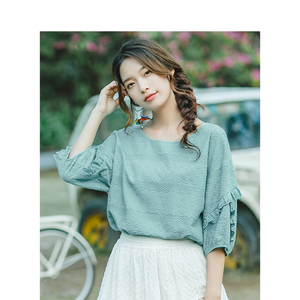 Image 3 - INMAN Summer O neck Literary Embroidery Loose Casual All Matched Half Sleeves Women Shirt