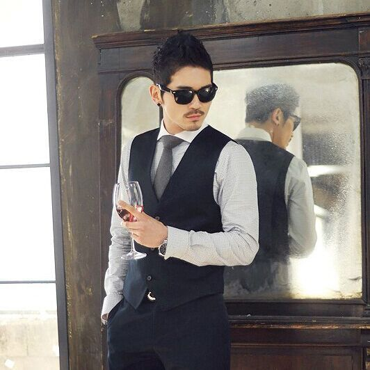 Free shipping 2015 New Arrival Men Suit Dress Vests Men's Fitted Leisure Waistcoat Casual Business Jacket Tops Three Buttons