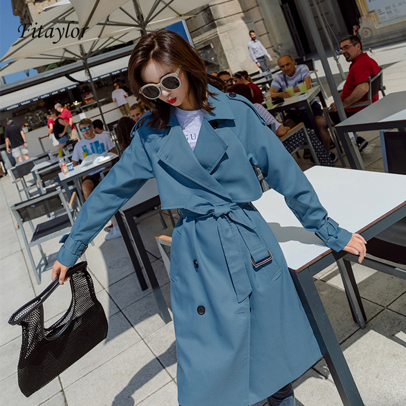 Fitaylor New Autumn Long Trench Coat Women Fashion Classic Double Breasted Belt Windbreaker Trench Coat Casual Business Outwear