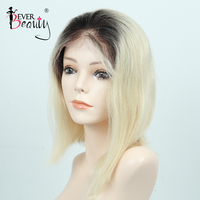 1b/613 Ombre Human Hair Wig Honey Blonde Lace Front Short Cut Bob Wigs Brazilian Straight Glueless Full Wig Ever Beauty Remy