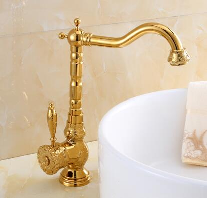 Retro Golden Carved Basin Faucet Bathroom Luxury Basin Mixer Sink faucet Tap Noble Gorgeous Swivel Kitchen Faucet Water Tap free shipping retro antique carved basin faucet bathroom sink faucet luxury basin mixer sink faucet tap brass water tap