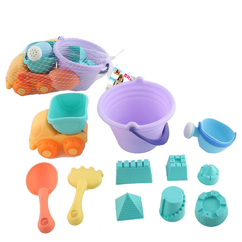 11 Pcs/Lot Castle Sand Playing Tool Bucket Shovels Cars Beach Toy TPE Soft Material Watering Fun Learning Toy For Children Gifts
