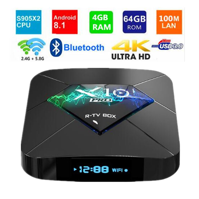 4GB RAM 64GB ROM R TV BOX X10 PRO Android 8 1 TV Set Top Box