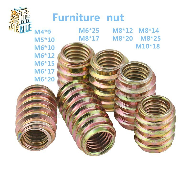 M4 M5 M6 M8 M10 Furniture Pass-through Drive Unhead Threaded Nut Color Zinc Plated Carbon Steel Wood Insert Nuts 20pcs screws self tapping screws insert nut carbon steel hex socket drive head nut drive wood nut threaded for wood furniture