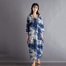 V-collar retro art double-layer cotton and linen loose dress