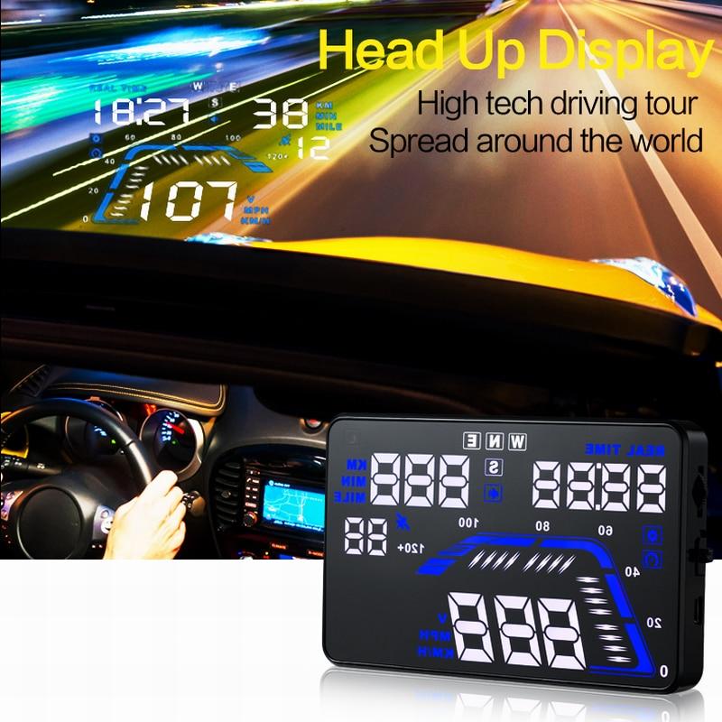 Q7 Universal HUD 5 5 inch font b GPS b font Car Head Up Display Speedometers