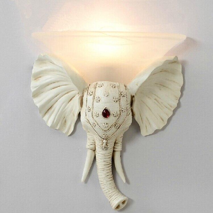 Couloir Nouveauté Éléphant applique Murale avec abat-jour en verre Art Studio Lampe De Mur De Résine Arandela De Chevet Allée Salle De Bains miroir Éclairage