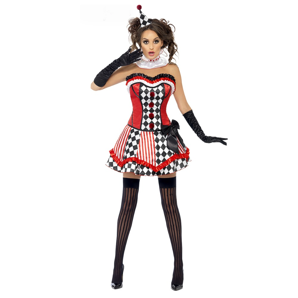 UTMEON  New Halloween Women Girls Funny Joker Circus Clown Cosplay Costume Clown Fancy Dress Halloween Cosplay Costume Woman