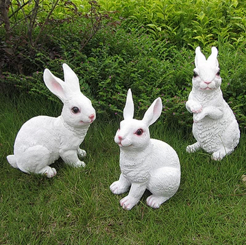 Simulation resin rabbit ornaments home outdoor living room villa garden ornaments photography shoot props model