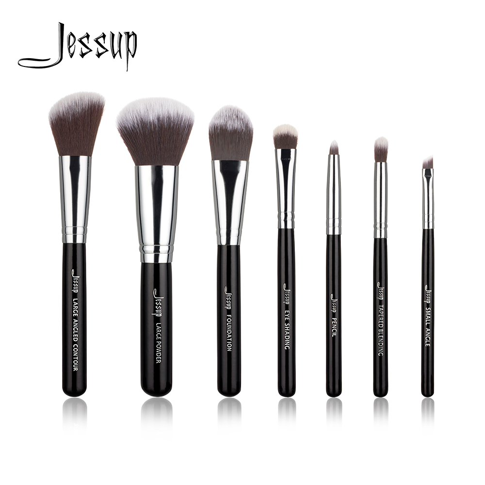 Jessup Brand Black 7pcs Professional Makeup brushes sets Beauty Tools Cosmetic Kit Eyeshadow Foundation blusher Make up brush professional makeup brush 7pcs