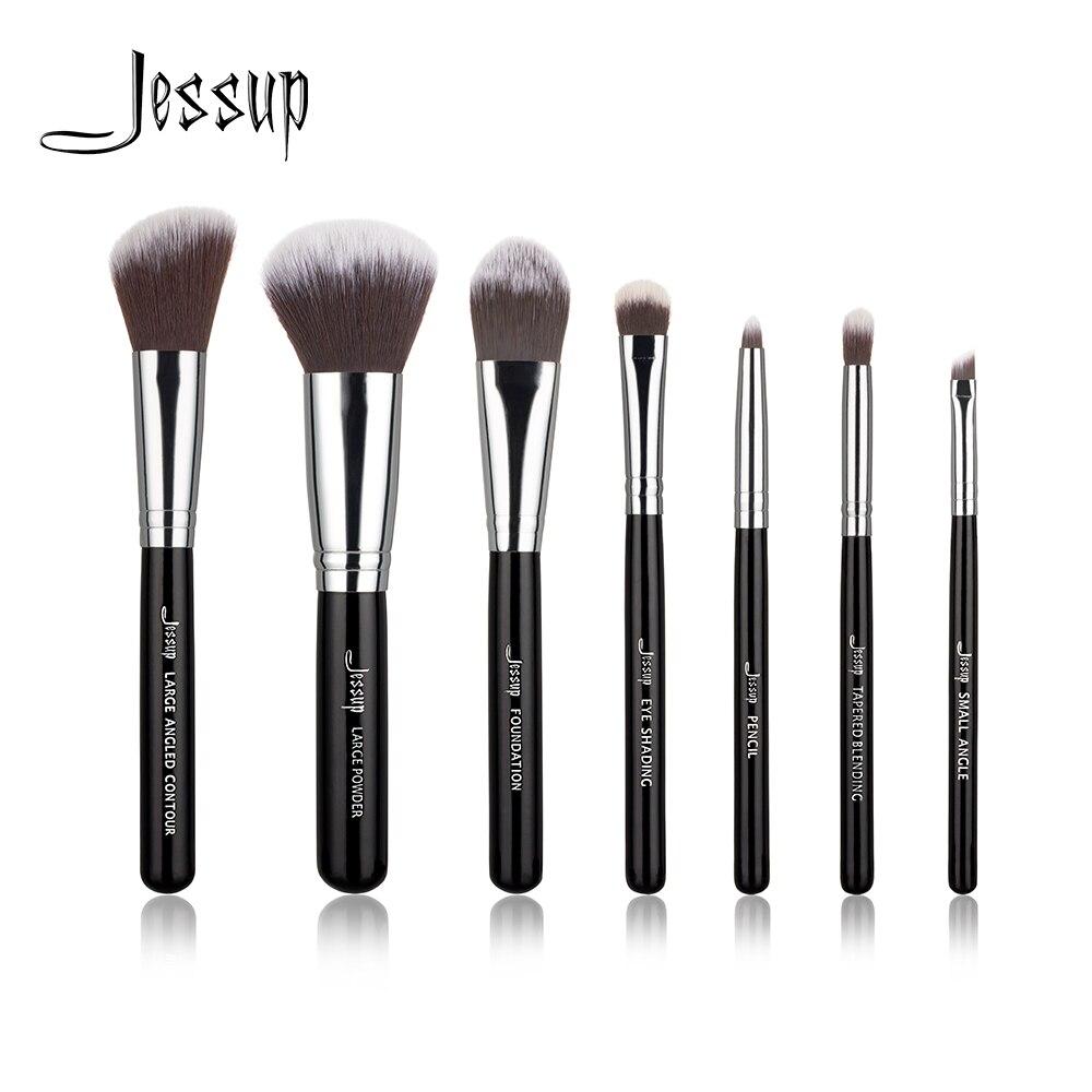 Jessup Marque Noir 7 pcs Professionnel pinceaux de Maquillage sets Outils de Beauté Cosmétique Kit de Fard À Paupières Fondation fard à joues Make up brush