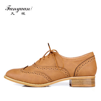 mljuese 2018 women flats brown color cow leather square toe flats spring comfortable oxfords women shoes size 34 43 office shoes Fanyuan Oxford flats women shoes concise Pointed toe Sewing Lace-up solid flats comfort lady Dress oxford heels shoes size 34-43