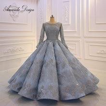 אמנדה עיצוב באיכות גבוהה ארוך שרוול קפלים כחול יום נישואים חתונה שמלה