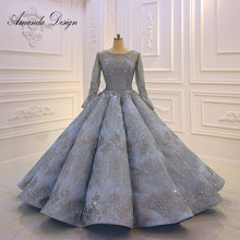 Amanda Design High Quality Long Sleeve Pleated Blue Anniversary Wedding Dress