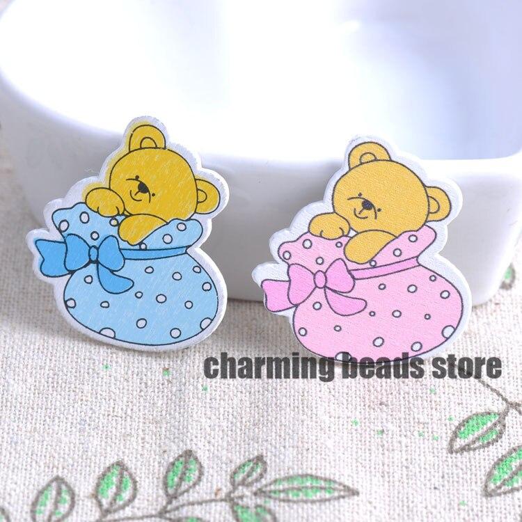 e7cbb45b3ce888 50 sztuk 31x34mm bez Dziur niebieski/Różowy Baby Bear Wzór Dekoracyjne  Przyciski Drewna Dla Scrapbooking Rzemiosła Z118-142