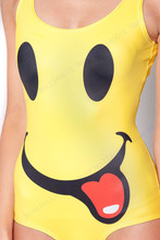 Women Bikini One Piece Yellow Swimsuit Funny Smile
