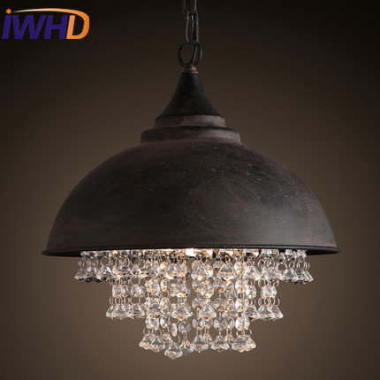 IWHD Iron Lampara Vintage Industrial Pendant Lights Style Loft Retro Crystal Pendant Lamp Bedroom Kitchen Iluminacion Lighting iwhd rust retro vintage pendant lights led edison style loft industrial lamp metal iron rustic hanging light lampara colgante