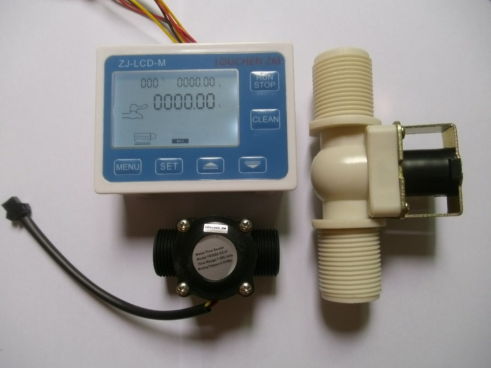 NEW 3/4 Water Flow Control LCD Meter + Flow Sensor + Solenoid valve new dimension control levi777t levi777a lcd screens