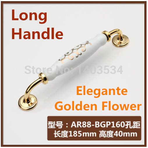 Length 185mm Hole C:C: 160mm Zinc alloy Ceramic cabinet handle drawer pulls golden flower print bosch pws 700 115 06033a2020