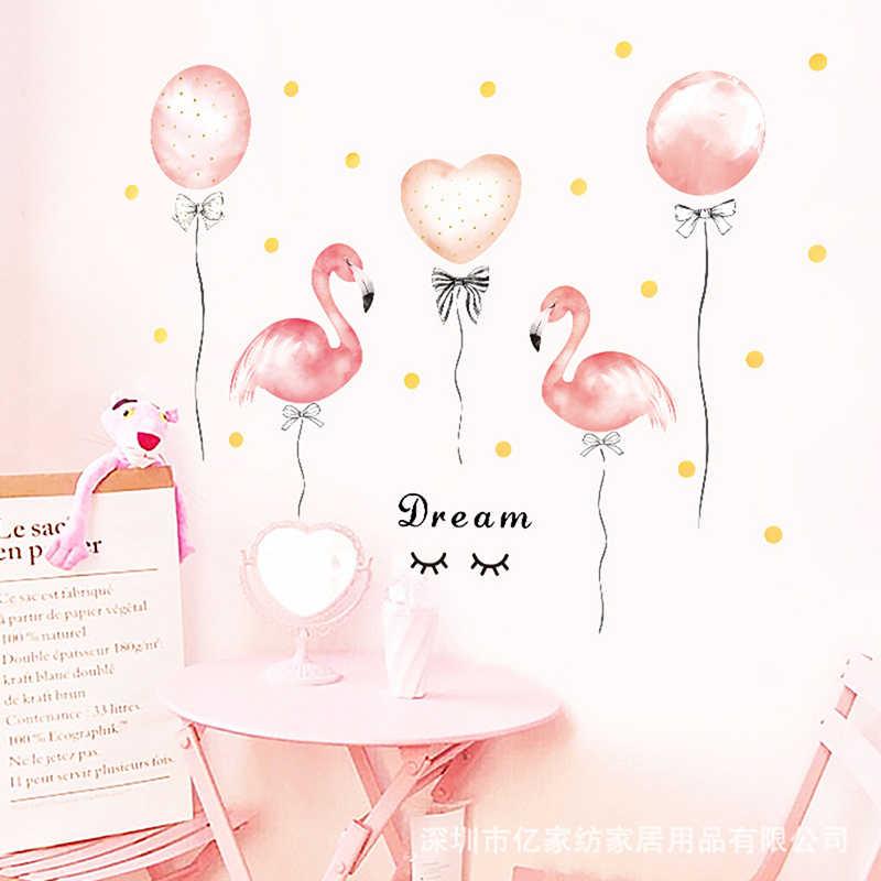 Yurt kız odası dekorasyon flamingo balon pembe duvar çıkartmaları sıcak yatak odası ev dekor DIY kendinden yapışkanlı dolap çıkartmalar
