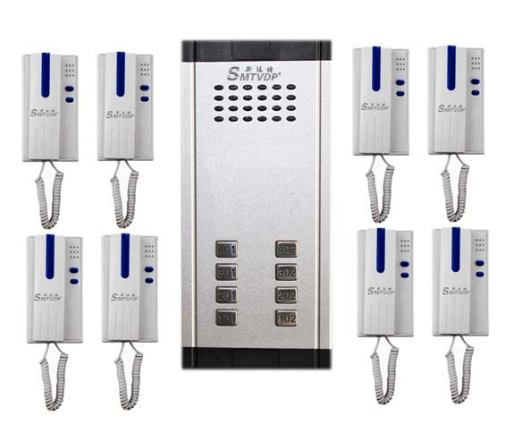 SMTVDP Direct Press Key Audio Door Phone for 8 apartments, 2-wired audio intercom system