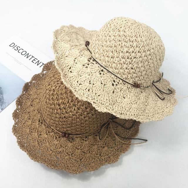 Mano de ganchillo sombrero de paja verano de las mujeres plegables ...