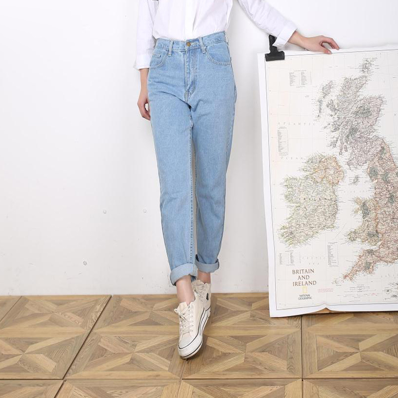 Jeans   for Women High Waist Light Blue Roll up Denim Casual Skinny Harem Pants Full Length Cowboy Trousers