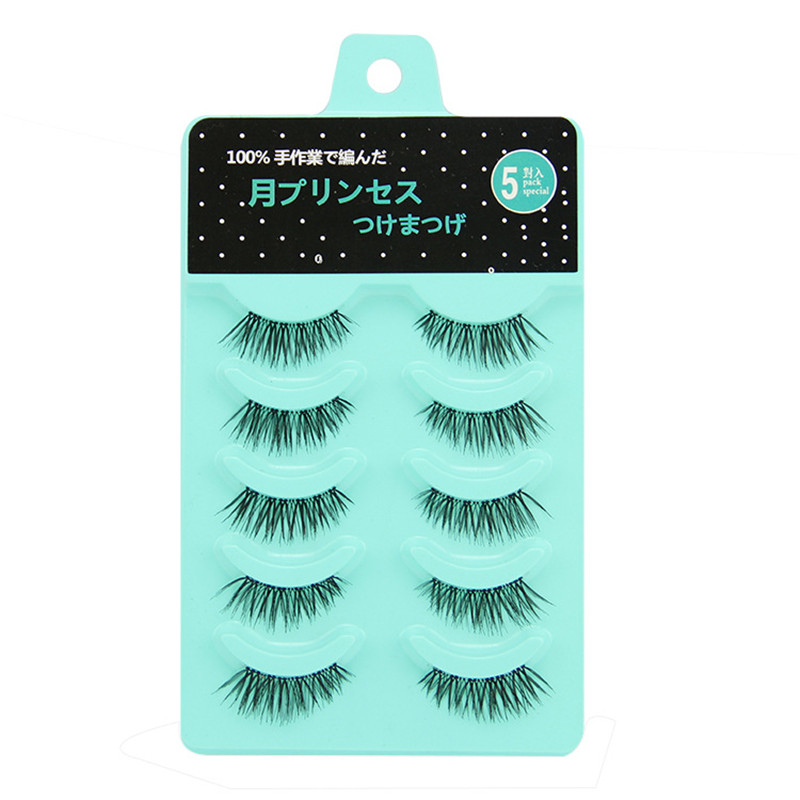 Black 5 Pairs False Eyelashes Half Stage Makeup Handmade Fake Eyelashes Transparent Stems Natural Soft Criss Cross Fake Lashes