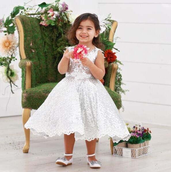 Mode v-cou princesse bling argent paillettes enfant en bas âge pageant robe de demoiselle d'honneur pour la fête d'anniversaire avec des cristaux de dentelle - 6