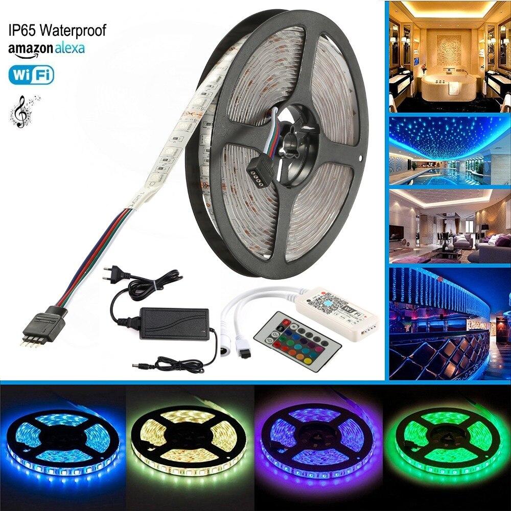 Bande de WiFi LED 5 M 5050 DC 12 V 300 LED RGB RGBW IP65 bande de lumière étanche avec contrôleur sans fil WiFi Alexa, Google et IFTTT