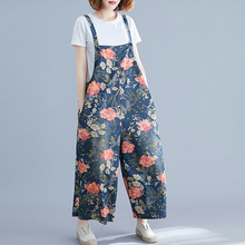 2019 Summer New Women Casual Loose Floral Print Jumpsuit Sleeveless Backless Playsuit Vintage Trousers Overalls цена в Москве и Питере