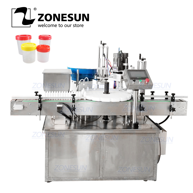 ZONESUN Desktop Electric Plastic Glass Crystal Water Perfume Shampoo Cosmetic Nail Polish Bottle Automatic Capping Machine