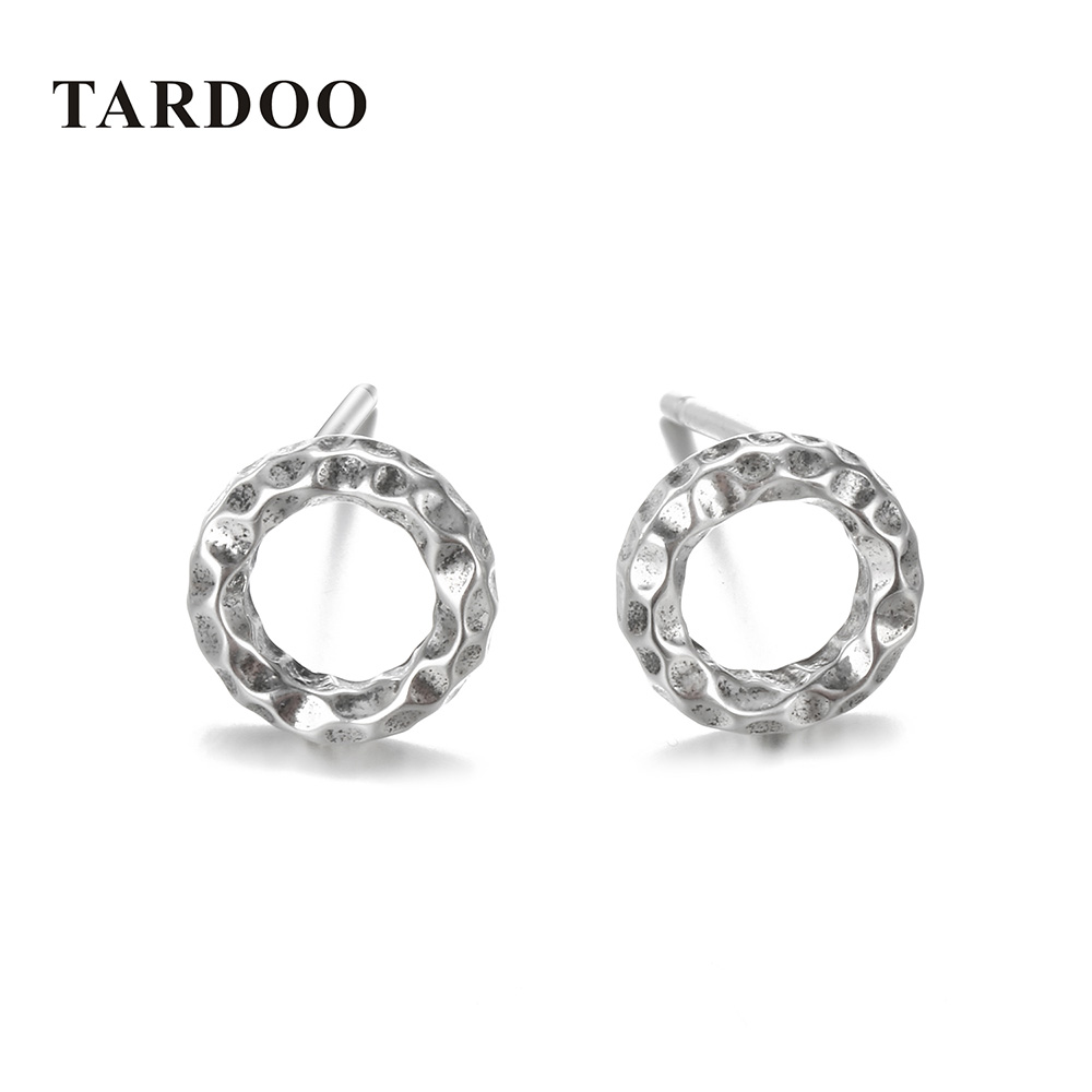 Tardoo Real 925 Sterling Silver Open Round Circle Stud Earrings Modern Retro Geometric For Women Fine Jewelry Er0524 In From