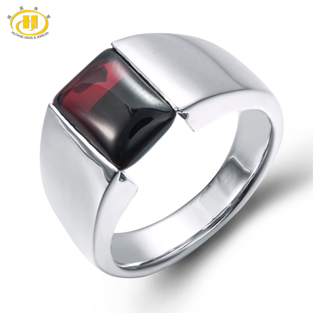 f9c56404f96b Hutang Обручение кольцо с натуральными драгоценными камнями Черный гранат  Твердые ...