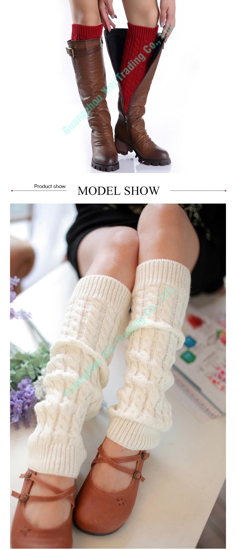 Moda Twisted Leggings Stocking Tejer Calentadores de La Pierna Para ...