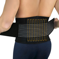 Durable Black Waist Support Brace Belt Lumbar Lower Waist Double Adjustable Back Belt For Pain Relief